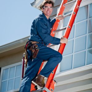 Handyman In Uniform Climbing Ladder
